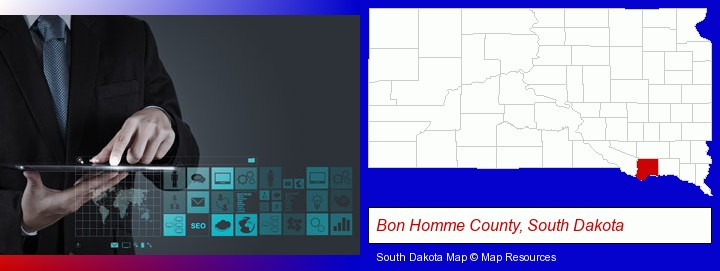 information technology concepts; Bon Homme County, South Dakota highlighted in red on a map