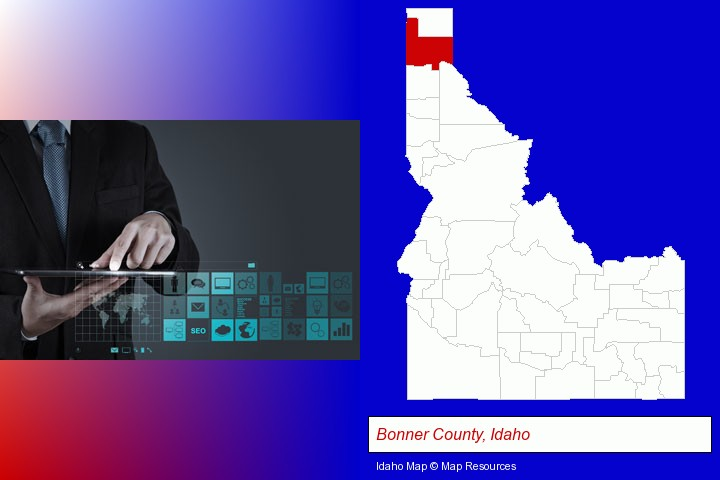 information technology concepts; Bonner County, Idaho highlighted in red on a map
