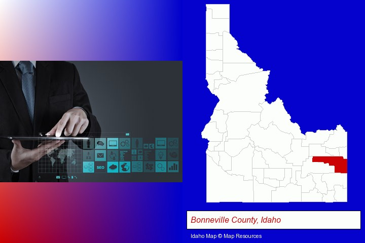 information technology concepts; Bonneville County, Idaho highlighted in red on a map