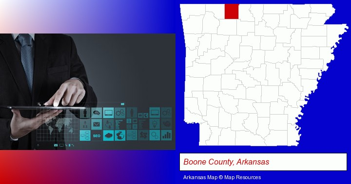 information technology concepts; Boone County, Arkansas highlighted in red on a map