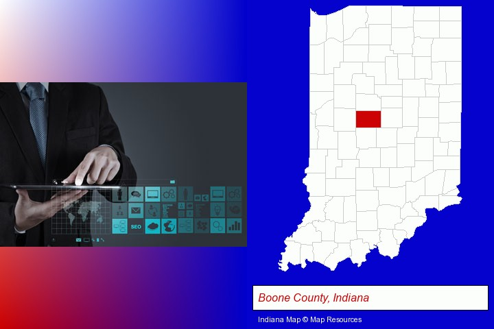 information technology concepts; Boone County, Indiana highlighted in red on a map