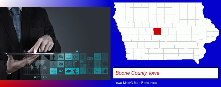 information technology concepts; Boone County, Iowa highlighted in red on a map