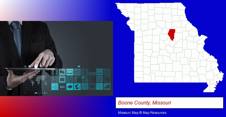 information technology concepts; Boone County, Missouri highlighted in red on a map