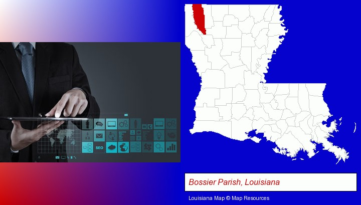 information technology concepts; Bossier Parish, Louisiana highlighted in red on a map