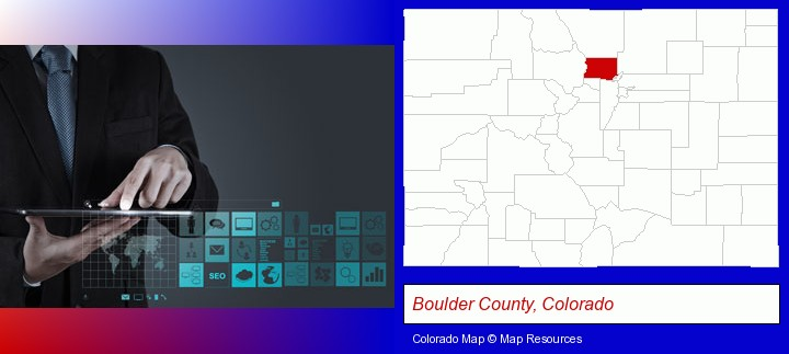 information technology concepts; Boulder County, Colorado highlighted in red on a map