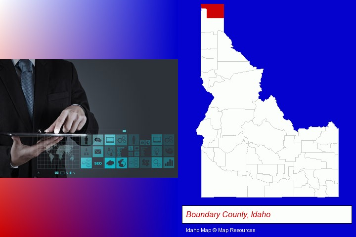 information technology concepts; Boundary County, Idaho highlighted in red on a map