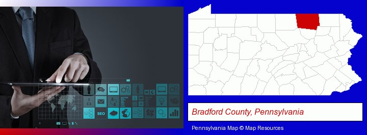 information technology concepts; Bradford County, Pennsylvania highlighted in red on a map