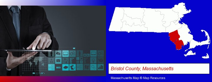 information technology concepts; Bristol County, Massachusetts highlighted in red on a map