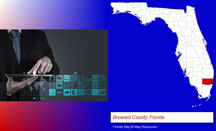 information technology concepts; Broward County, Florida highlighted in red on a map