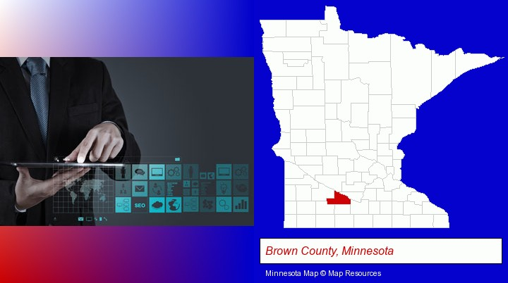 information technology concepts; Brown County, Minnesota highlighted in red on a map