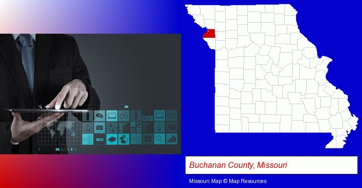 information technology concepts; Buchanan County, Missouri highlighted in red on a map