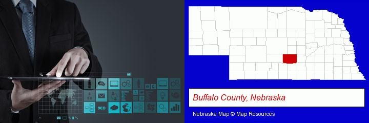 information technology concepts; Buffalo County, Nebraska highlighted in red on a map