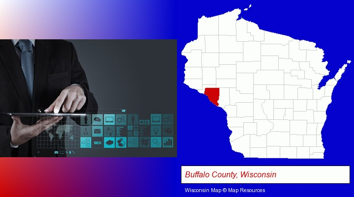 information technology concepts; Buffalo County, Wisconsin highlighted in red on a map