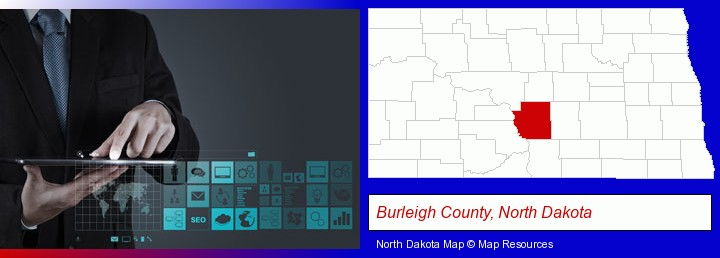 information technology concepts; Burleigh County, North Dakota highlighted in red on a map