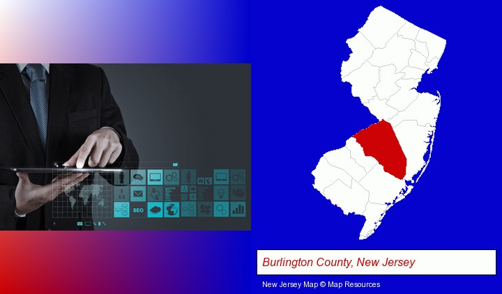 information technology concepts; Burlington County, New Jersey highlighted in red on a map
