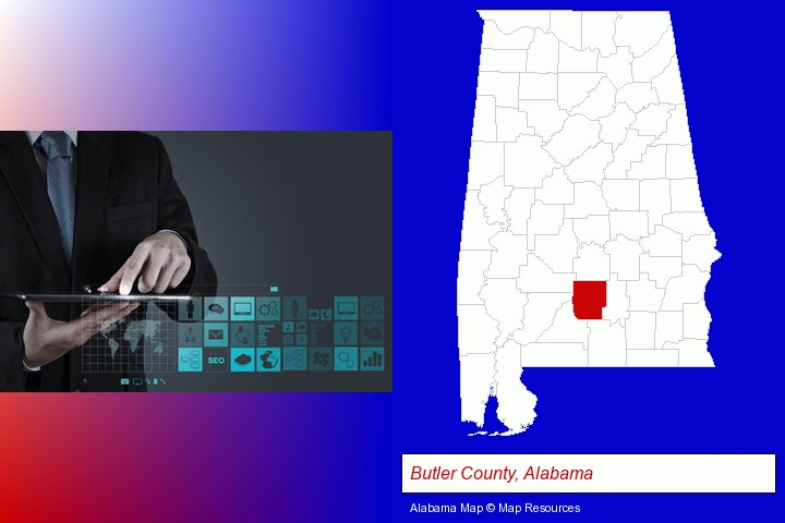 information technology concepts; Butler County, Alabama highlighted in red on a map