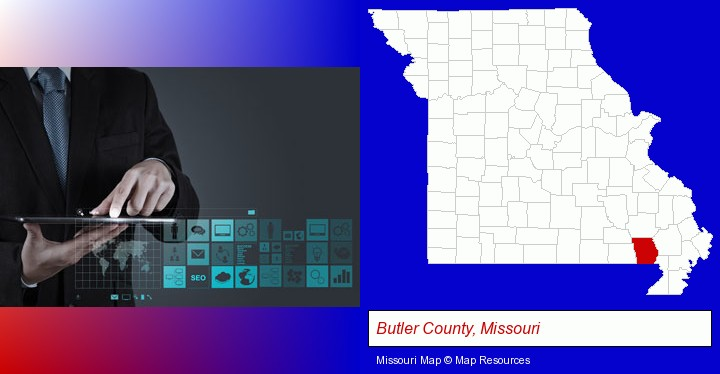 information technology concepts; Butler County, Missouri highlighted in red on a map