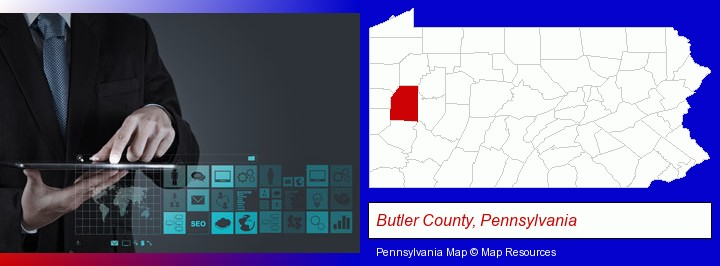 information technology concepts; Butler County, Pennsylvania highlighted in red on a map