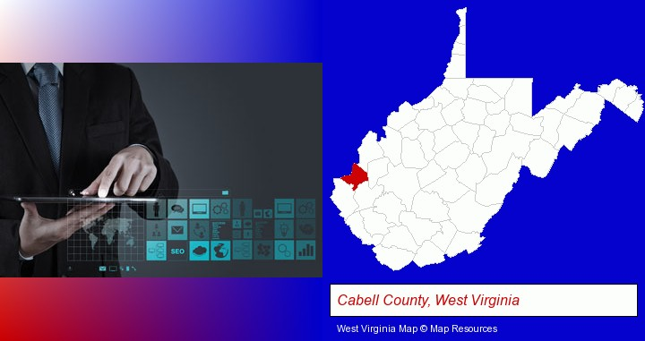 information technology concepts; Cabell County, West Virginia highlighted in red on a map