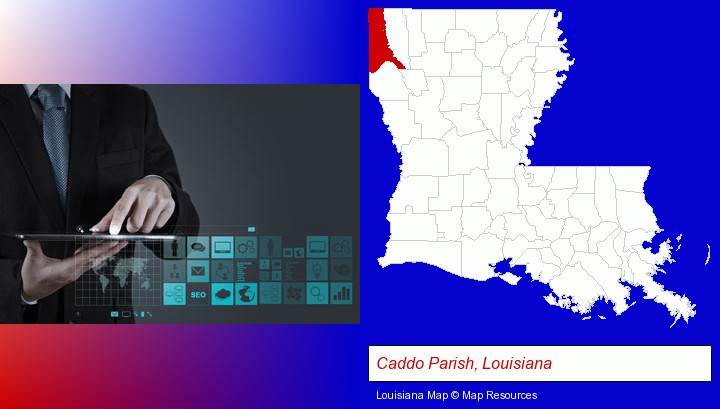 information technology concepts; Caddo Parish, Louisiana highlighted in red on a map