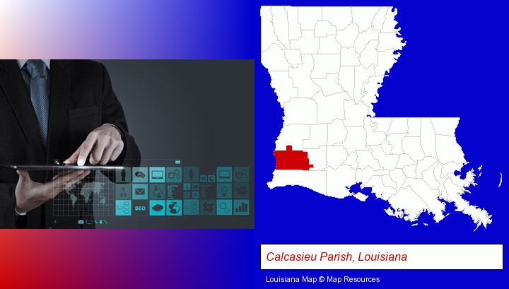 information technology concepts; Calcasieu Parish, Louisiana highlighted in red on a map