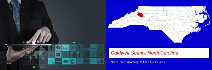 information technology concepts; Caldwell County, North Carolina highlighted in red on a map