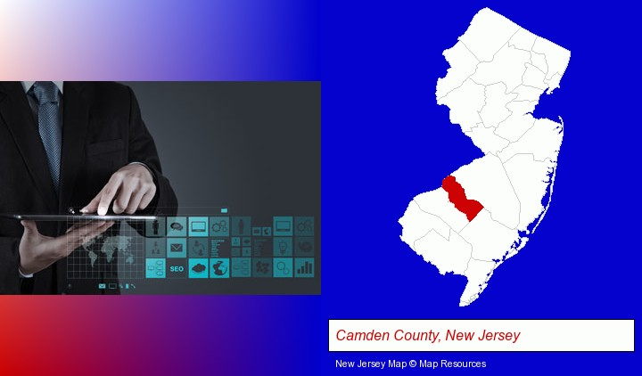information technology concepts; Camden County, New Jersey highlighted in red on a map