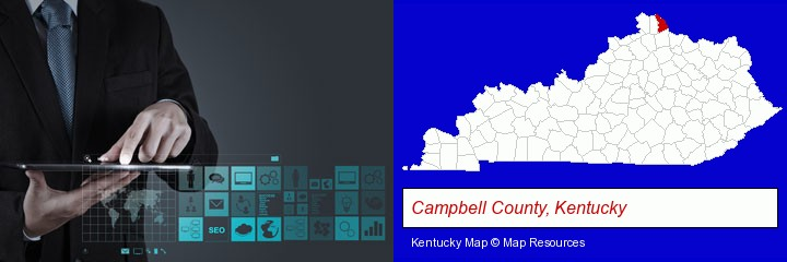 information technology concepts; Campbell County, Kentucky highlighted in red on a map