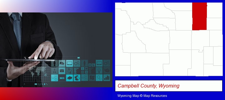 information technology concepts; Campbell County, Wyoming highlighted in red on a map