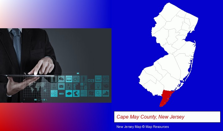 information technology concepts; Cape May County, New Jersey highlighted in red on a map