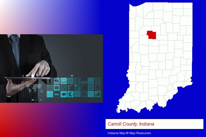 information technology concepts; Carroll County, Indiana highlighted in red on a map