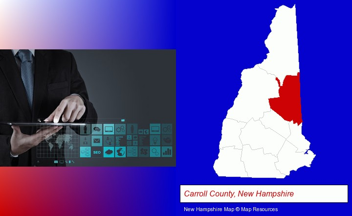information technology concepts; Carroll County, New Hampshire highlighted in red on a map