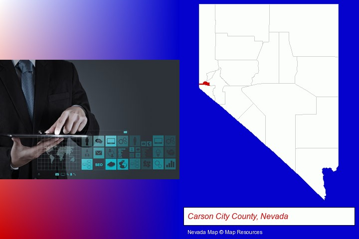information technology concepts; Carson City County, Nevada highlighted in red on a map