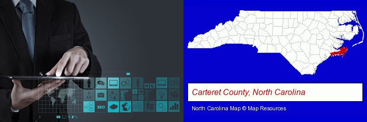 information technology concepts; Carteret County, North Carolina highlighted in red on a map
