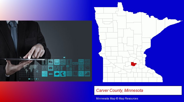 information technology concepts; Carver County, Minnesota highlighted in red on a map
