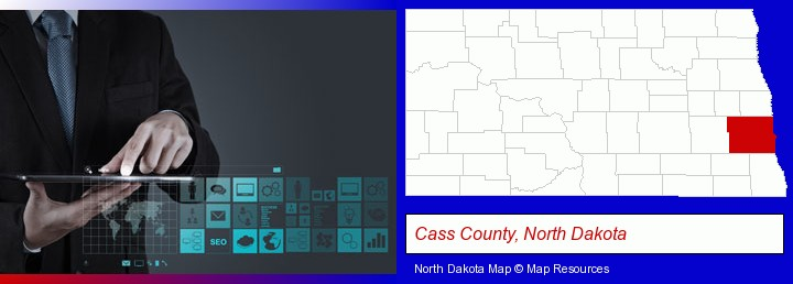 information technology concepts; Cass County, North Dakota highlighted in red on a map