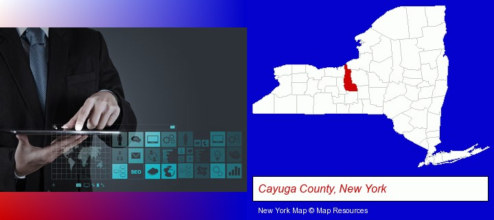 information technology concepts; Cayuga County, New York highlighted in red on a map
