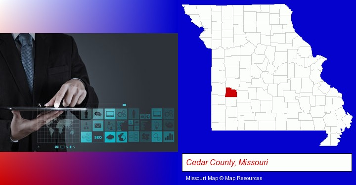 information technology concepts; Cedar County, Missouri highlighted in red on a map