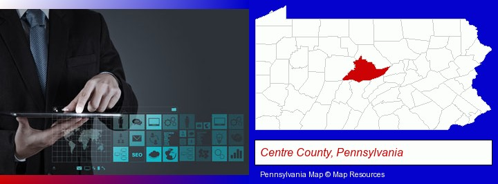 information technology concepts; Centre County, Pennsylvania highlighted in red on a map