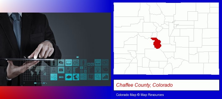 information technology concepts; Chaffee County, Colorado highlighted in red on a map