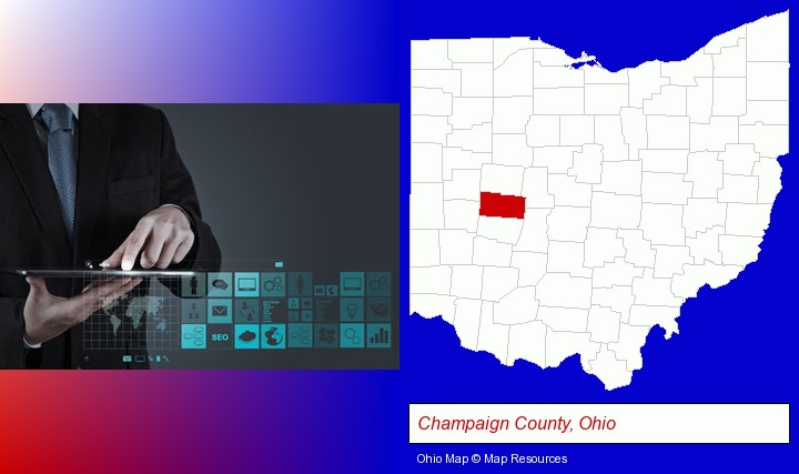 information technology concepts; Champaign County, Ohio highlighted in red on a map