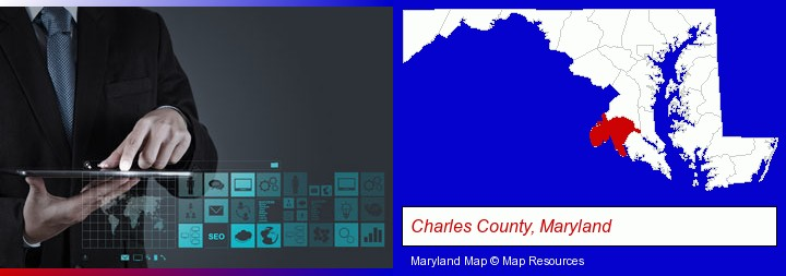 information technology concepts; Charles County, Maryland highlighted in red on a map