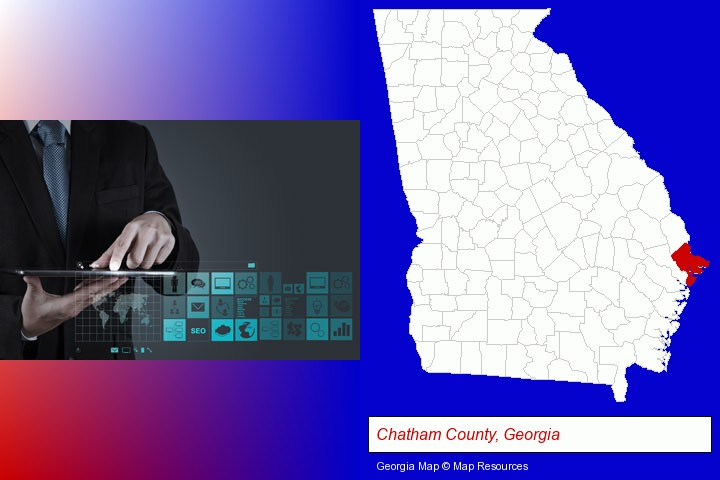 information technology concepts; Chatham County, Georgia highlighted in red on a map