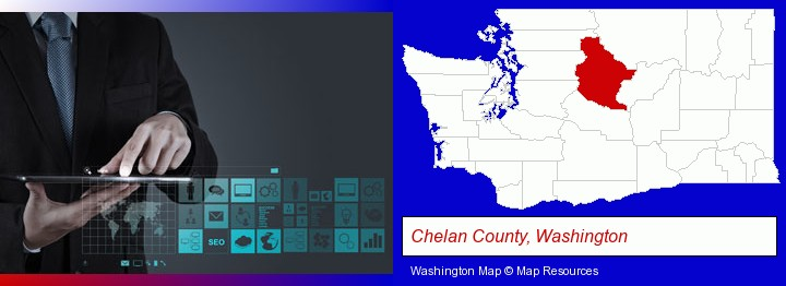 information technology concepts; Chelan County, Washington highlighted in red on a map