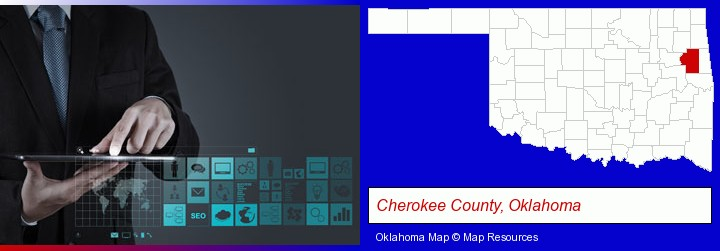 information technology concepts; Cherokee County, Oklahoma highlighted in red on a map