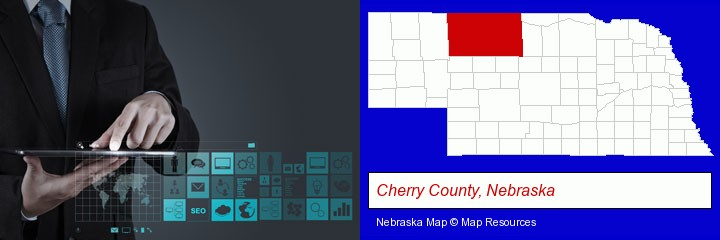 information technology concepts; Cherry County, Nebraska highlighted in red on a map