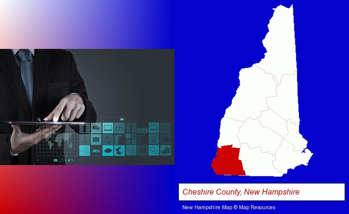 information technology concepts; Cheshire County, New Hampshire highlighted in red on a map