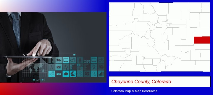 information technology concepts; Cheyenne County, Colorado highlighted in red on a map