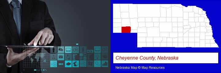 information technology concepts; Cheyenne County, Nebraska highlighted in red on a map