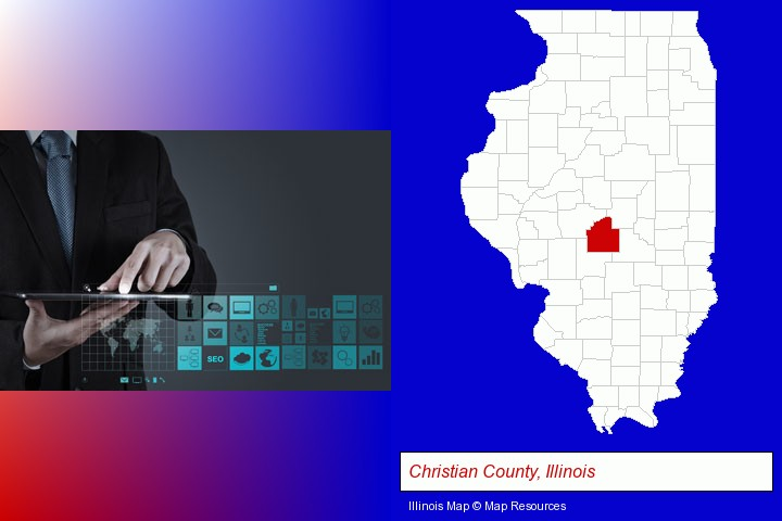 information technology concepts; Christian County, Illinois highlighted in red on a map